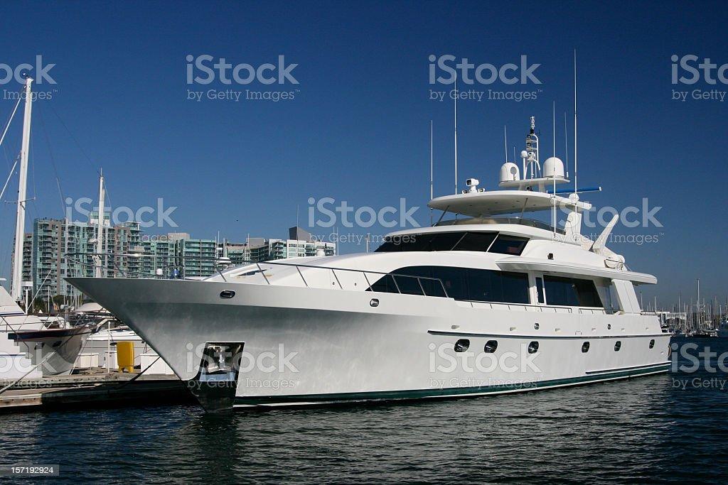 Large Mega Yacht in White royalty-free stock photo
