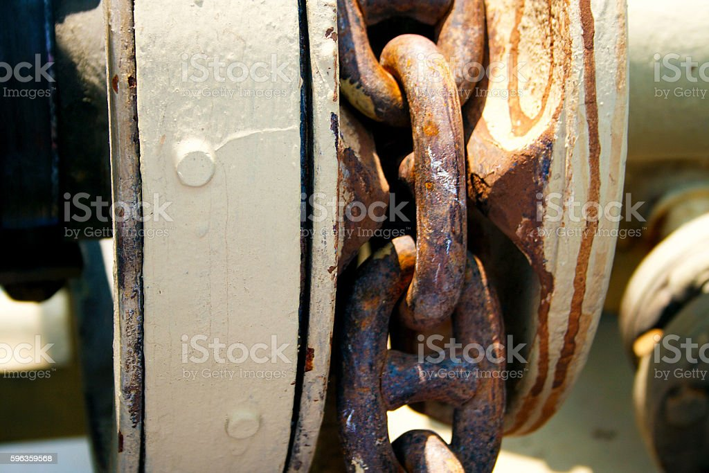 Large metal chain on a ship. royalty-free stock photo