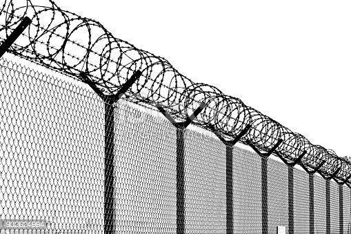Big wire chain security fence.