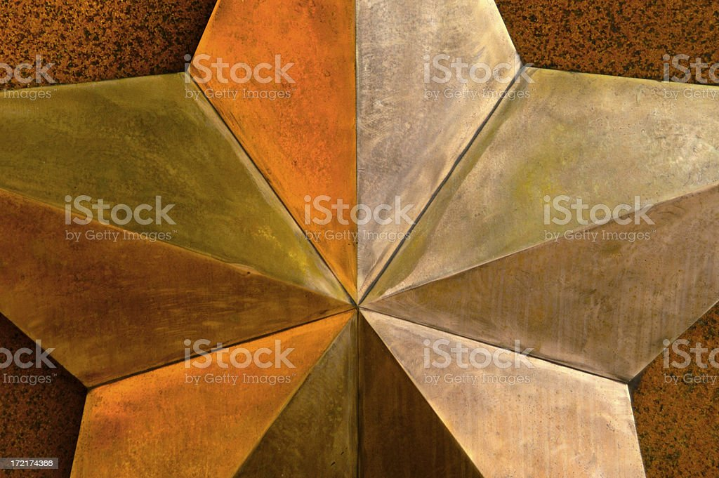 Large Metal Star Three Dimensional Close-Up Abstract stock photo