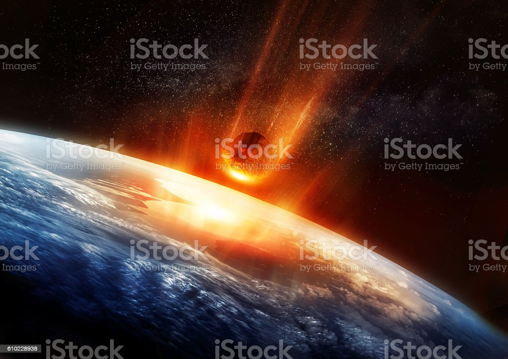 Large Meteor And Earth stock photo