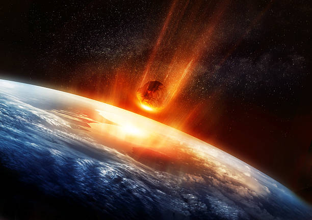 large meteor and earth - shooting stars stock photos and pictures