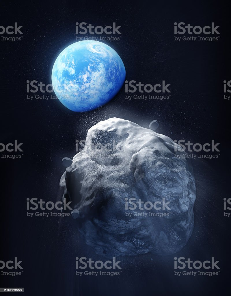 Large Meteor And Planet Earth stock photo