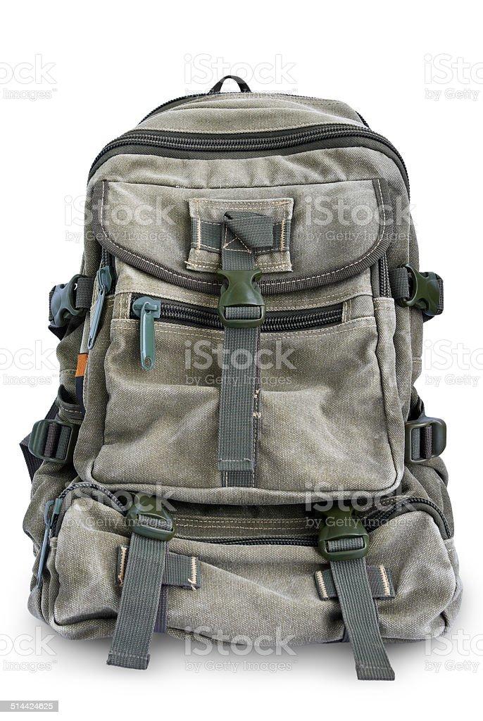 Large military backpack isolated on white background stock photo
