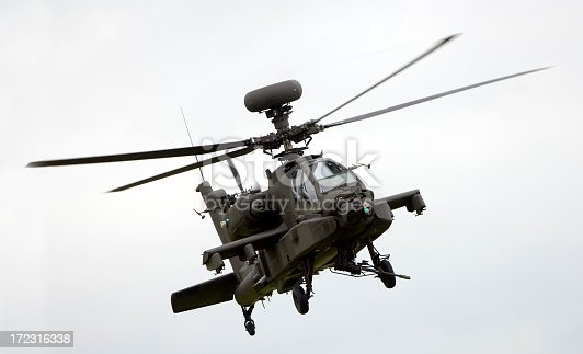 An Apache attack helicopter in flight