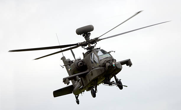 Large military helicopter in flight stock photo