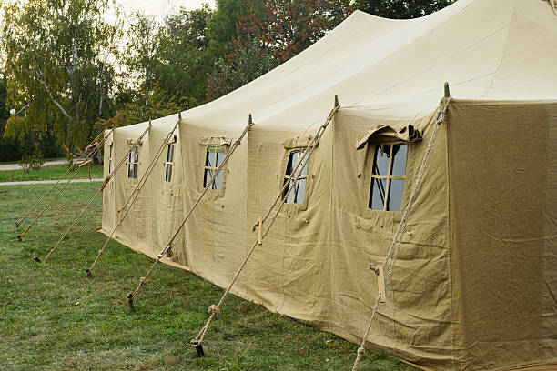 Large military tent stock photo