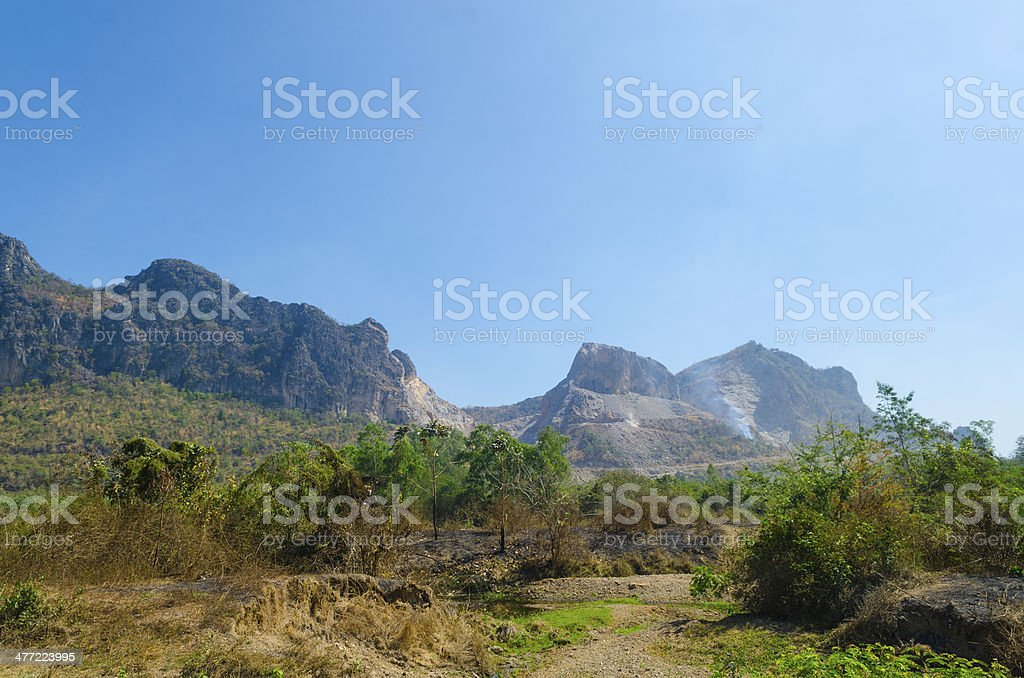 Large mining on mountain in Thailand stock photo