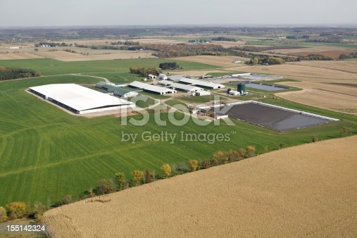 This is a very large modern Wisconsin dairy operation which houses thousands of cows. In the foreground is a fall corn field with a line of trees. The farm is surrounded with late season hay, middle right are two manure pits. The buildings include four barns connected to a green roof milking parlor. The background includes additional, buildings, fields and trees which meet a hazy horizon. A number of tractors, vehicles and implements are throughout the image. Shot from the open window of a small airplane.