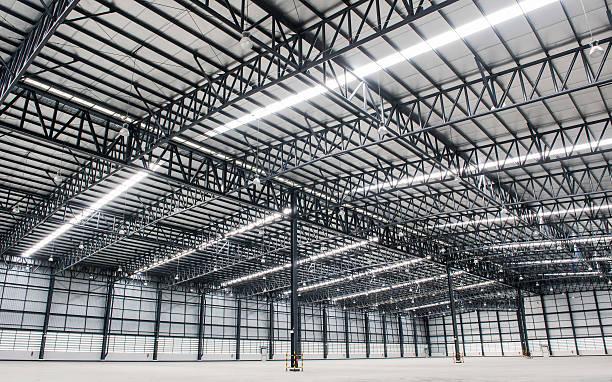Large modern empty storehouse stock photo