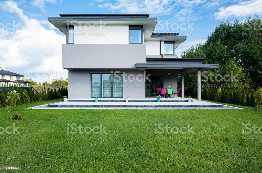 Large modern house with a large garden stock photo