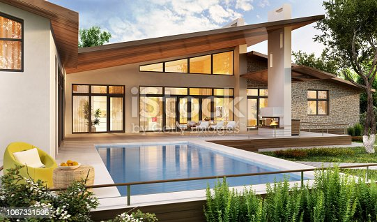 Large modern house with swimming pool