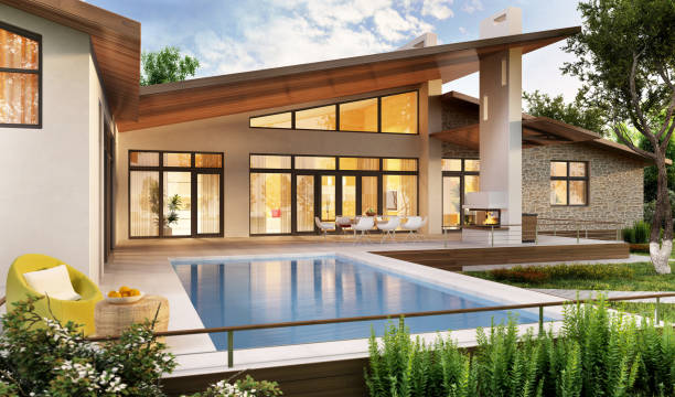 Large modern house with swimming pool Large modern house with swimming pool holiday villa stock pictures, royalty-free photos & images