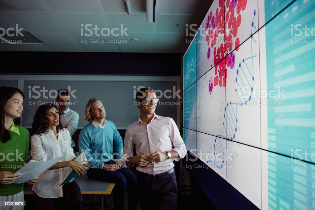 Large Modern Interactive Display Screen stock photo