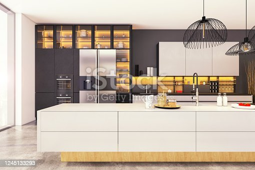 Large modern kitchen interior with kitchen island, pendant lamps, refrigerator. Template for copy space. Large windows, sunlight. Render.