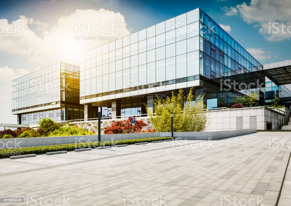 Large modern office building stock photo