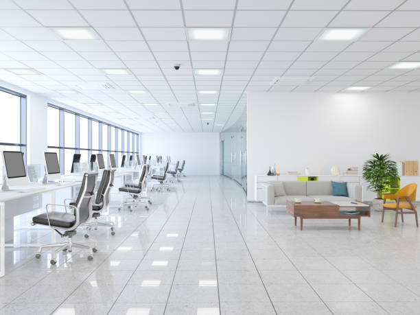 Large modern office with lobby stock photo