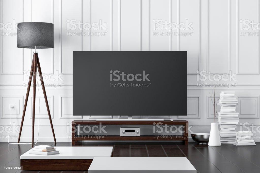 Grote moderne smart tv mockup op console in woonkamer met donkere