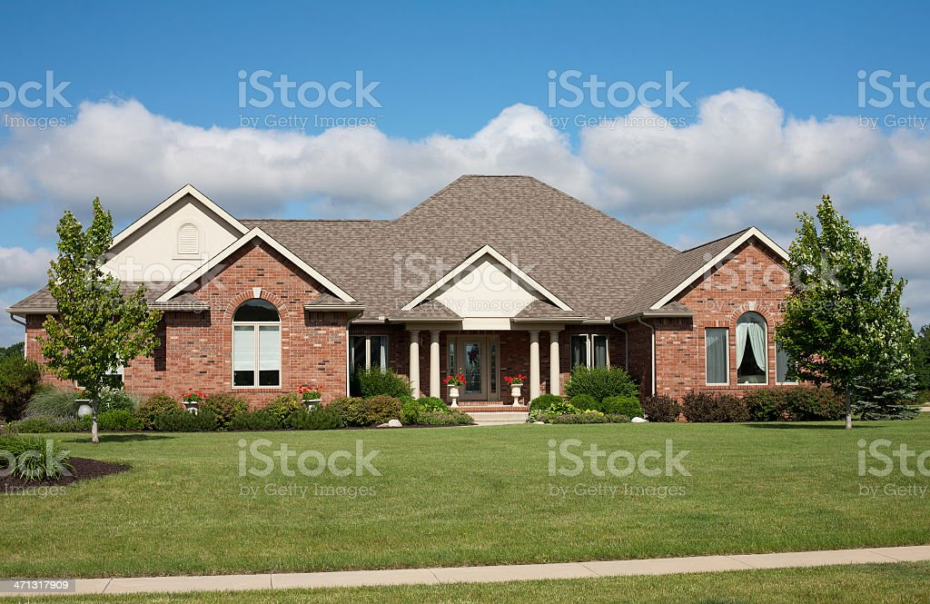 Large modern suburban house with a large garden stock photo