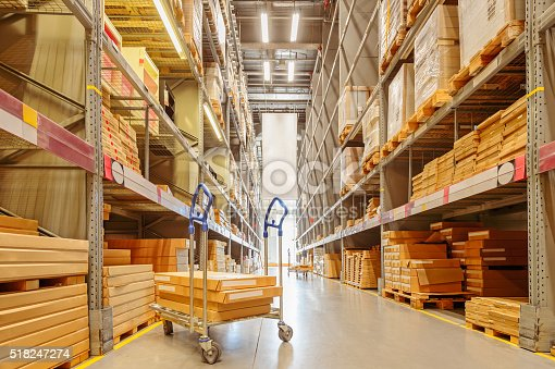 544976664 istock photo Large modern warehouse with shopping cart 518247274