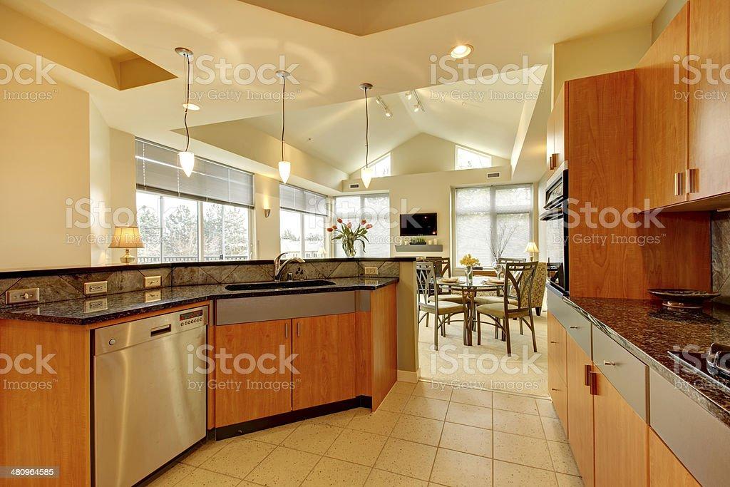 Große Moderne Holz Küche Mit Wohnzimmer Mit Hoher Decke ...