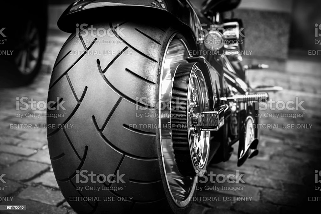 Large Motorbike Tire stock photo