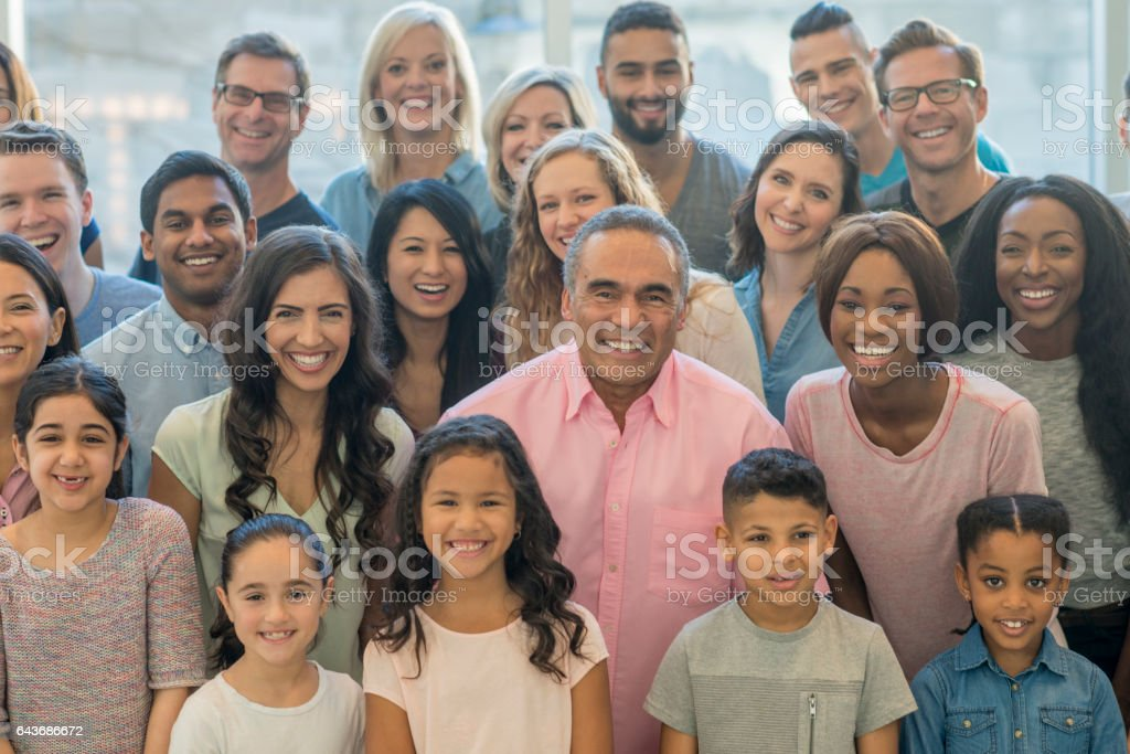 Large Multi-Ethnic Group stock photo