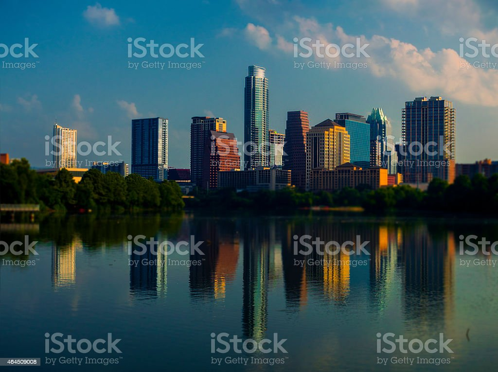 Large Multiple Image Panoramic Austin Skyline Mirror Reflections stock photo