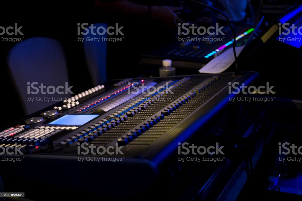 Large Music Mixer desk at he Concert. stock photo