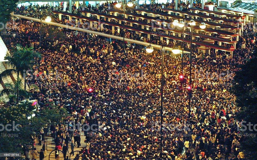 Large Night Crowd in Hong Kong stock photo