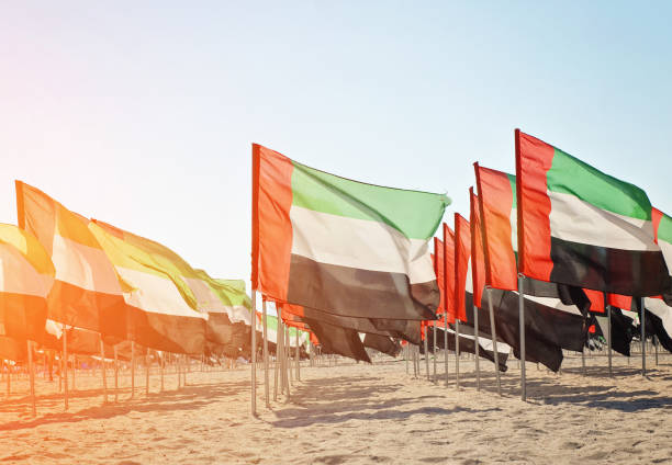 Large number of flags of the United Arab Emirates stock photo
