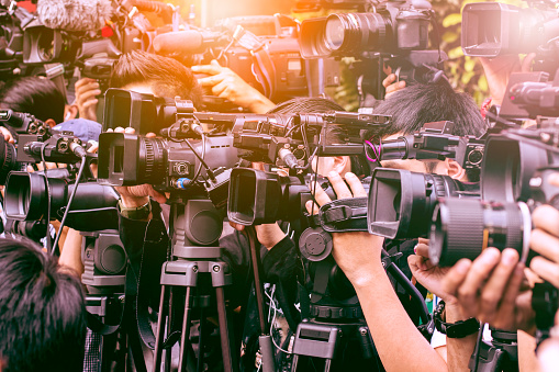 Large Number Of Press And Media Reporter In Broadcasting Event Stock Photo - Download Image Now