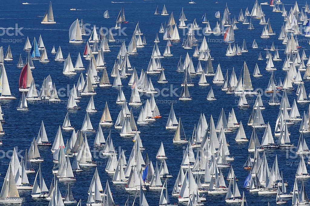 Large number of sailing boats at Barcolana royalty-free stock photo