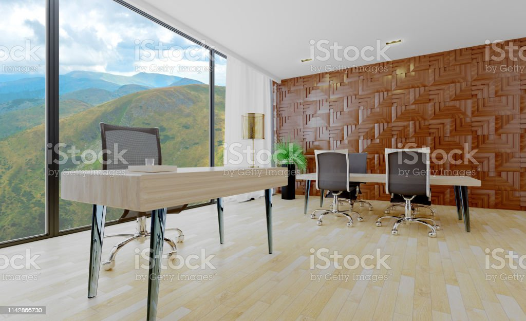Large office in a minimalist style with large windows. Business...
