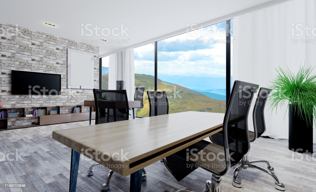 Large office with light furniture. Room with large windows. Business...