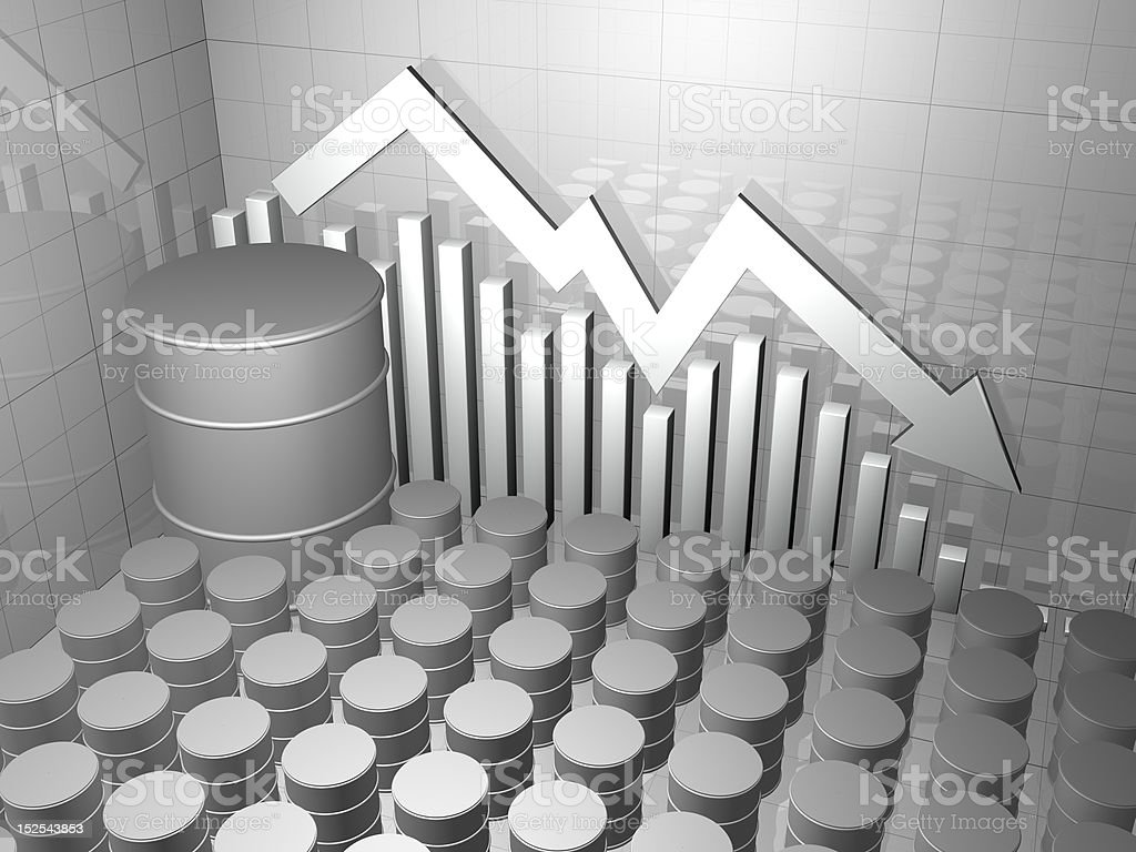 Large Oil Drum with Stock Market Graph royalty-free stock photo