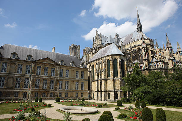 Large old cathedral at Reims, France stock photo