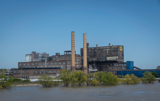 Large old factory with smokestacks