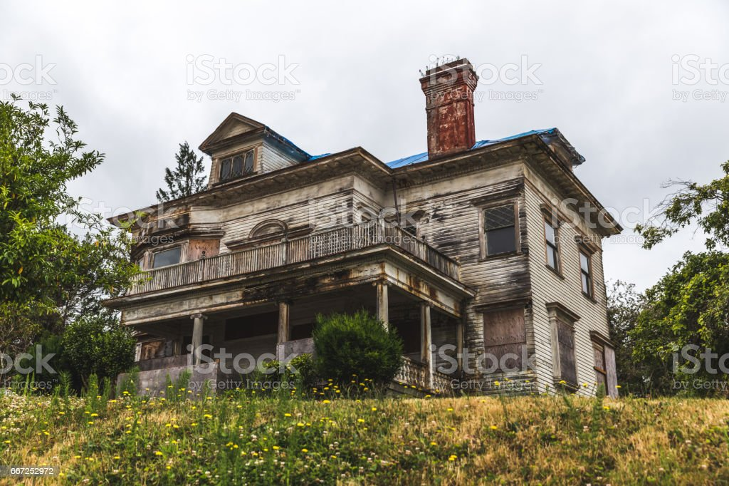 Large Old House on a Gloomy Day in Astoria stock photo