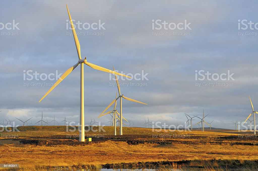 Large onshore windfarm landscape stock photo