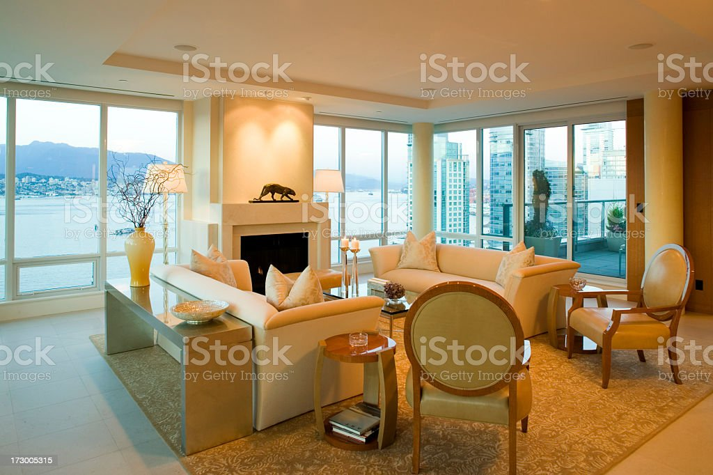 Large open penthouse apartment living room royalty-free stock photo