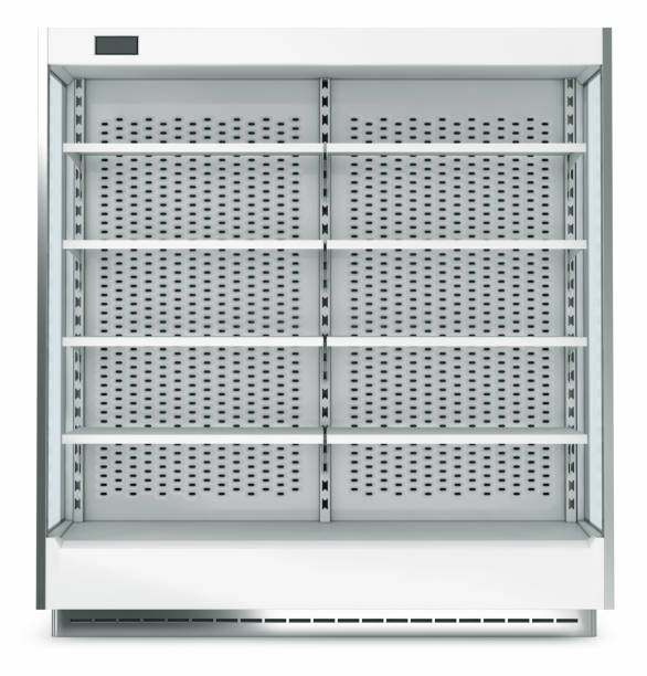 Large open refrigerator for trading in the supermarket stock photo