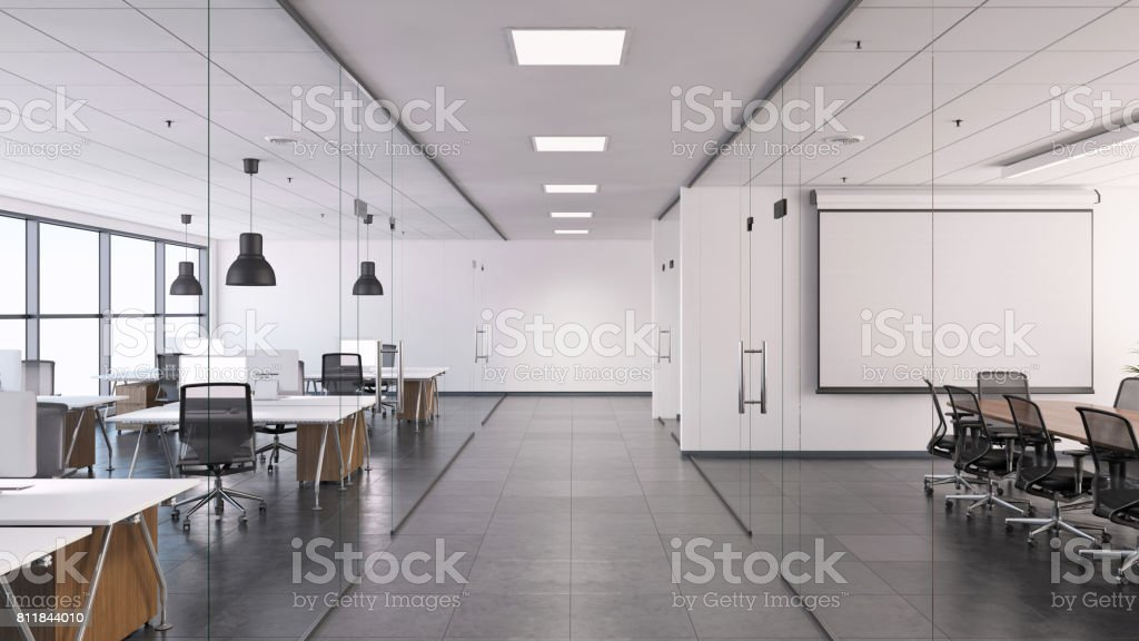 Large open space business office interior stock photo
