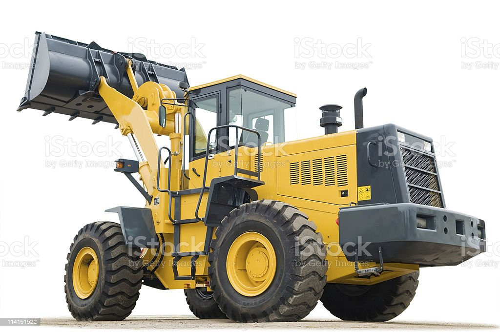 Large orange and black excavator on white background  royalty-free stock photo