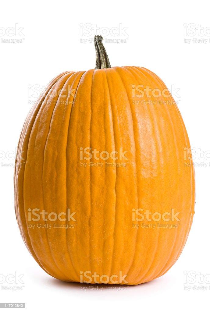 Large orange pumpkin against white background stock photo