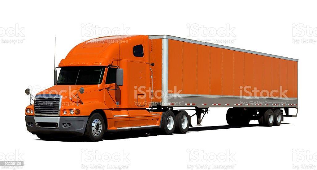 Large orange trailer truck isolated on white royalty-free stock photo