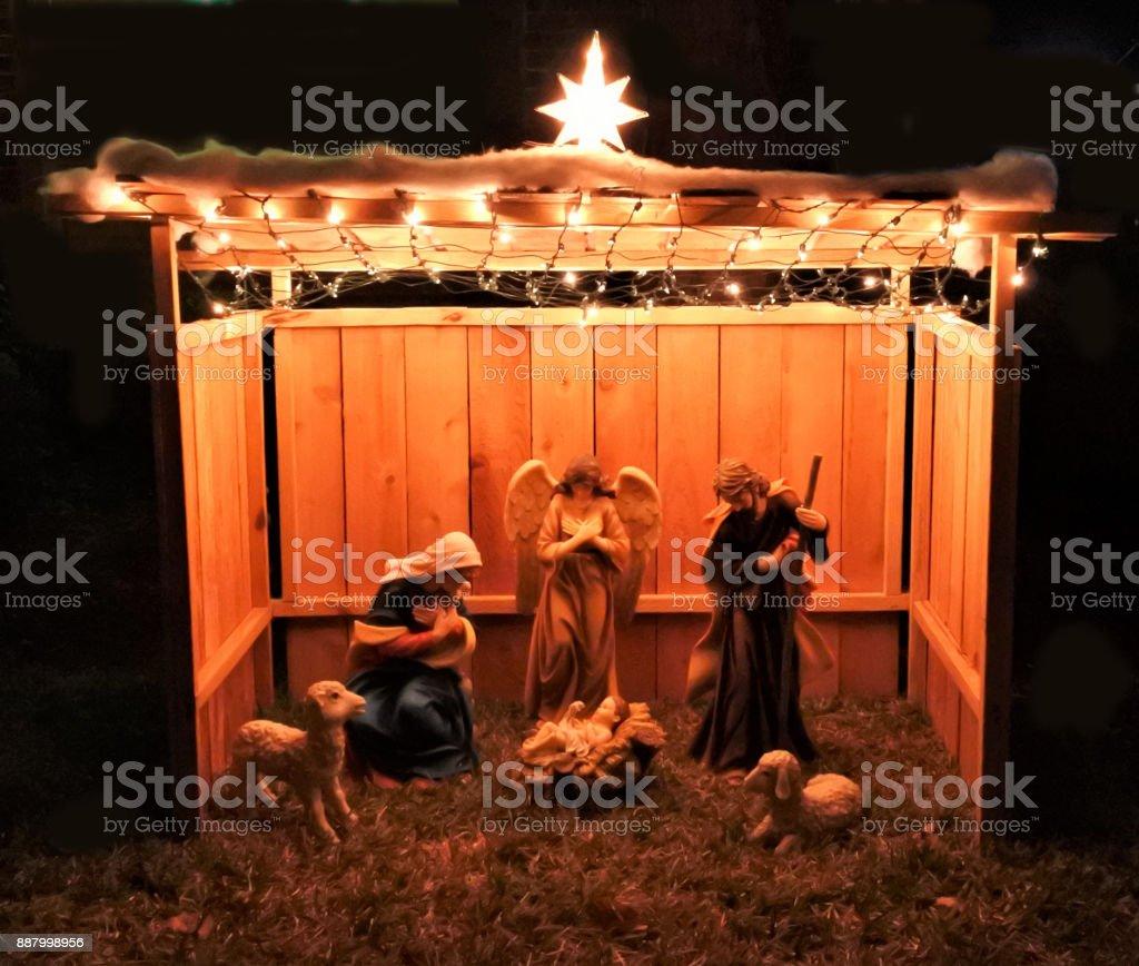 Large Outdoor Christmas Nativity Creche stock photo