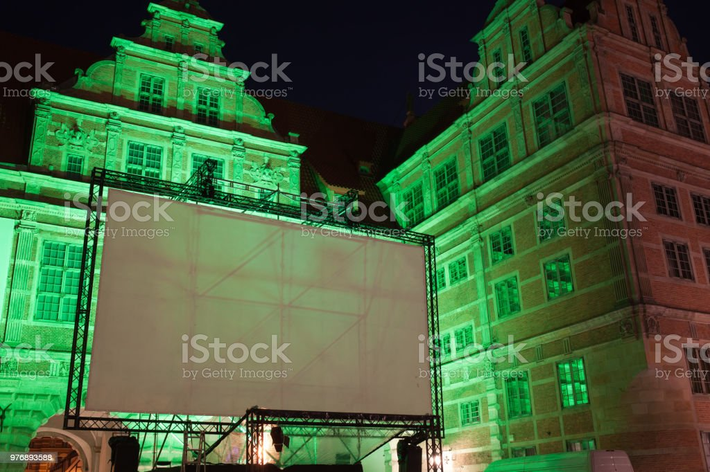 Large outdoor movie projector screen, empty display ready for...