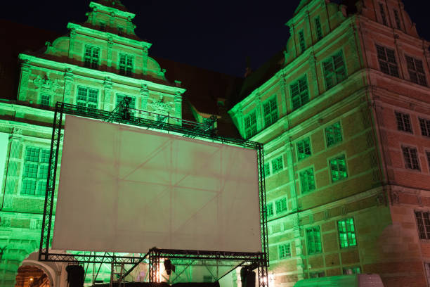 Large Outdoor Movie Projector Screen at Night stock photo