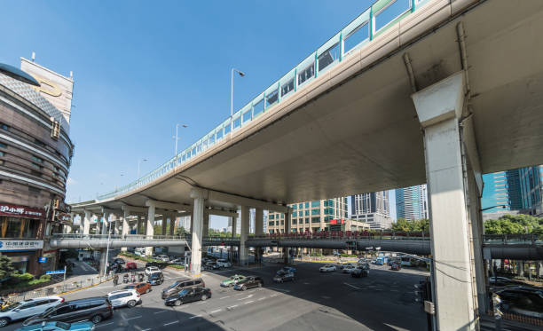 Large overpass road and traffic in Shanghai stock photo